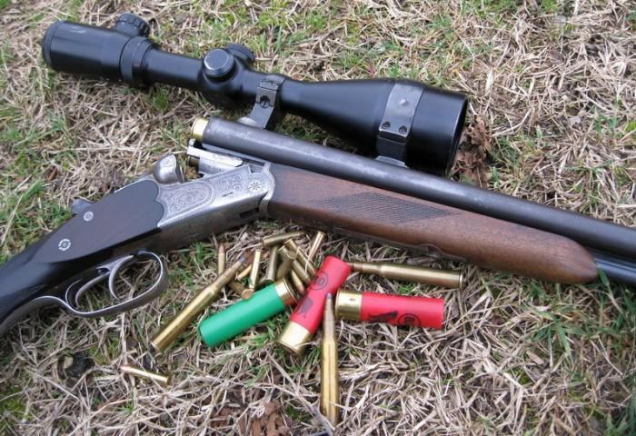 Патроны разного калибра и ружье